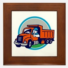 Dump Truck Driver Thumbs Up Circle Cartoon Framed