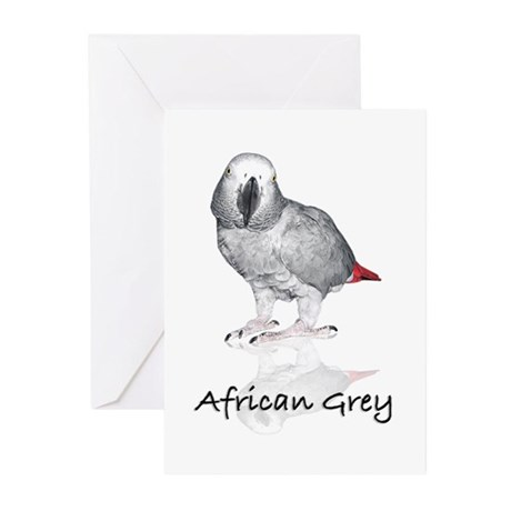 african grey parrot Greeting Cards (Pk of 10)