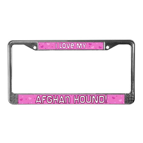 Pink Polka Dot Afghan Hound License Plate Frame