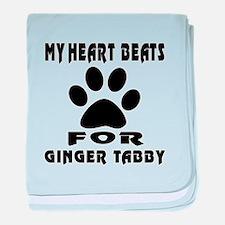 My Heart Beats For Ginger tabby Cat baby blanket