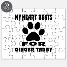 My Heart Beats For Ginger tabby Cat Puzzle
