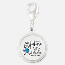 Future Flying Instructor Perso Silver Round Charm