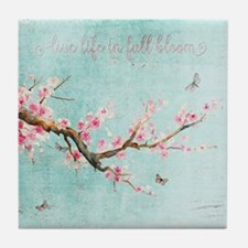 Live life in full bloom Tile Coaster