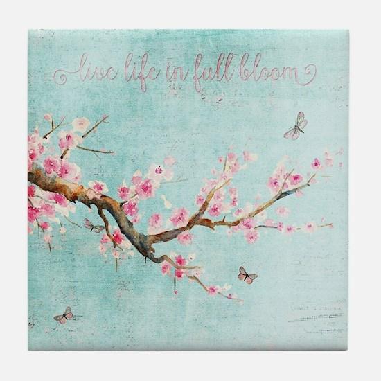 Live life in full bloom Tile Coaster