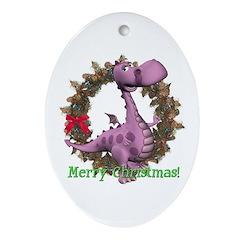 Dusty Dragon Oval Ornament