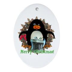 Pongo Penguin Oval Ornament