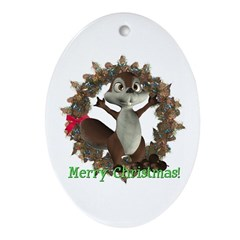 Nickie Squirrel Oval Ornament