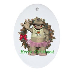 Heather Hippo Oval Ornament