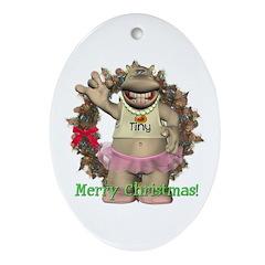 Heather Hippo Oval Ornament