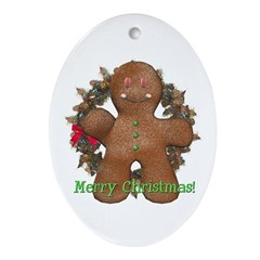 Gingerbread Man Oval Ornament