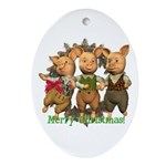 Three Little Pigs Oval Ornament