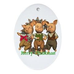 Three Little Pigs Oval Ornament
