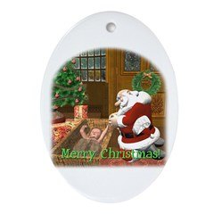 Praying Santa Oval Ornament