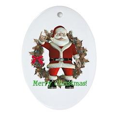 Santa Oval Ornament