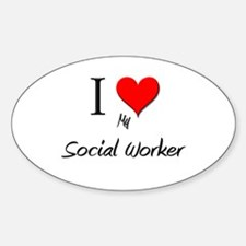 I Love My Social Worker Oval Decal