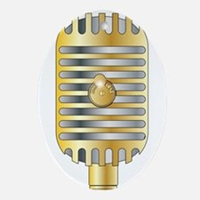 Golden Microphone Oval Ornament