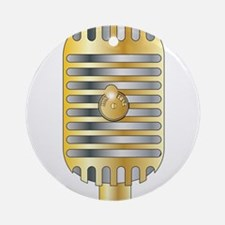 Golden Microphone Round Ornament