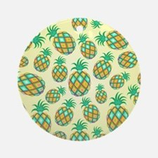 Pineapple Pastel Colors Pattern Round Ornament