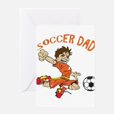SOCCER DAD BRUNETTE ORANGE Greeting Cards