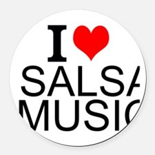 I Love Salsa Music Round Car Magnet