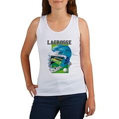 Lacrosse Helmet (Cyan) Women's Tank Top