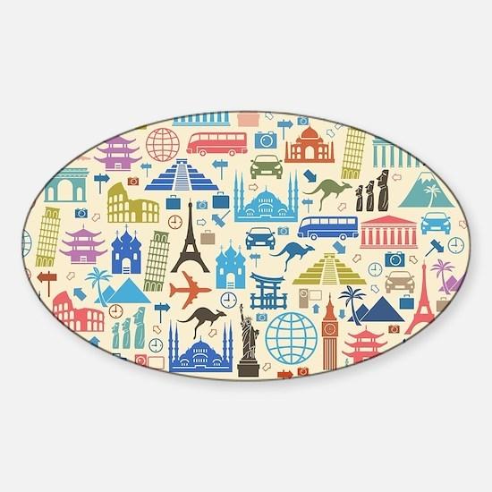 Cute Landmarks Sticker (Oval)