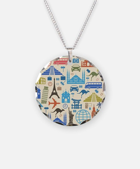 Cool Travel Necklace Circle Charm