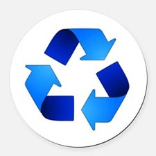 Blue Recycling Symbol Round Car Magnet