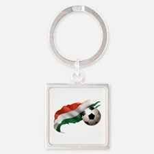 Hungary Soccer Square Keychain
