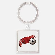 Turkey Soccer Square Keychain