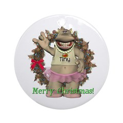 Heather Hippo Ornament (Round)