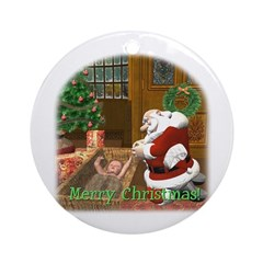 Praying Santa Ornament (Round)