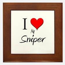 I Love My Sniper Framed Tile