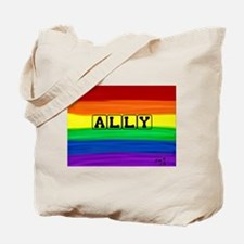 Ally gay rainbow art Tote Bag