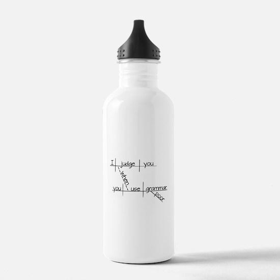 Grammar Black Text Water Bottle