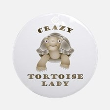 Crazy Tortoise Lady Round Ornament