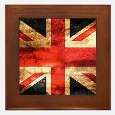 British UK Flag Grunge Vintage Framed Tile