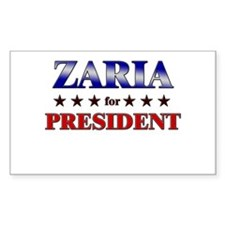 ZARIA for president Rectangle Decal