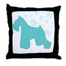 Schnauzer Snowflake Throw Pillow