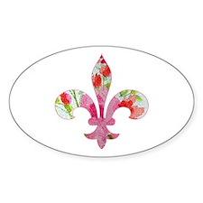 Floral Fleur de lis (2) Oval Decal