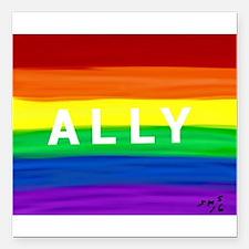 "Ally gay rainbow art Square Car Magnet 3"" x 3"""