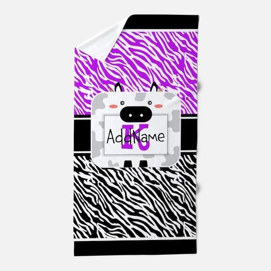 Purple and Black Zebra Personalized Beach Towel