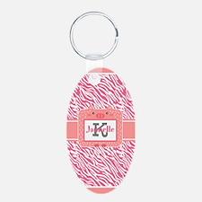 Pink Zebra Print Personaliz Keychains