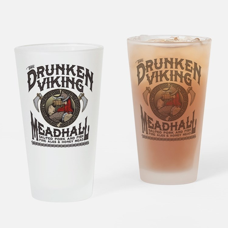 The Drunken Viking Mead Hall Drinking Glass