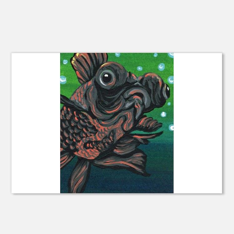 Black Moor Gold Fish Postcards (Package of 8)
