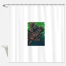 Black Moor Gold Fish Shower Curtain