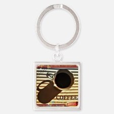 Cute Coffee break Square Keychain