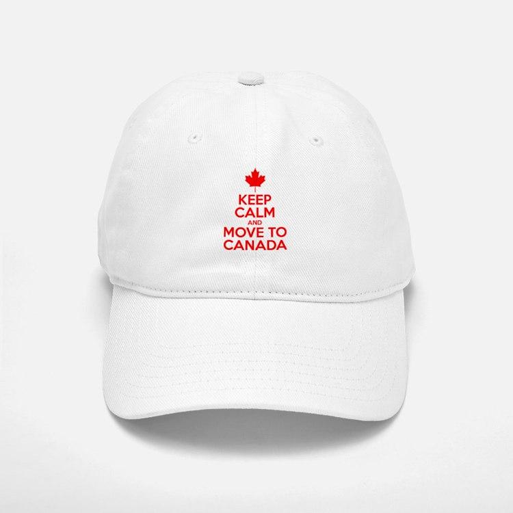 Keep Calm and Move to Canada Baseball Baseball Cap