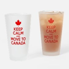 Keep Calm and Move to Canada Drinking Glass