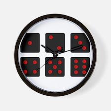 Six Black Dice Sides Wall Clock